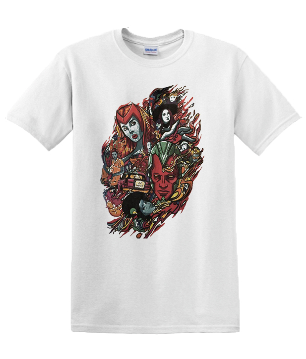 2021 For Him Her Wandavision Couple Happy Valentine's Day Marvel Wanda Scarlet Witch & Vision Fan Lovers T Shirt