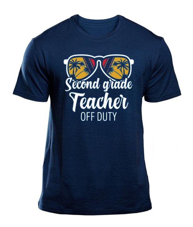 2nd Grade Teacher Off Duty Sunglasses Beach Sunset T-Shirt
